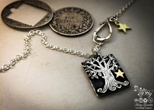 handcrafted and upcycled silver Georgian solstice shilling tree-of-life made in Cambridge