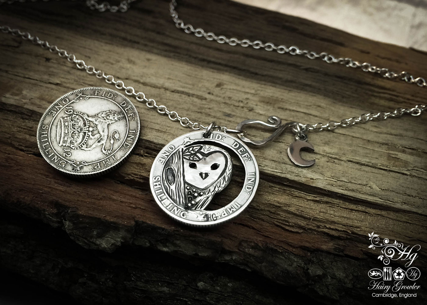 Handmade and recycled silver shilling The Silver Shilling collection. silver owl necklace totally handcrafted and recycled from old sterling silver shilling coins. Designed and created by Hairy Growler Jewellery, Cambridge, UK. necklace