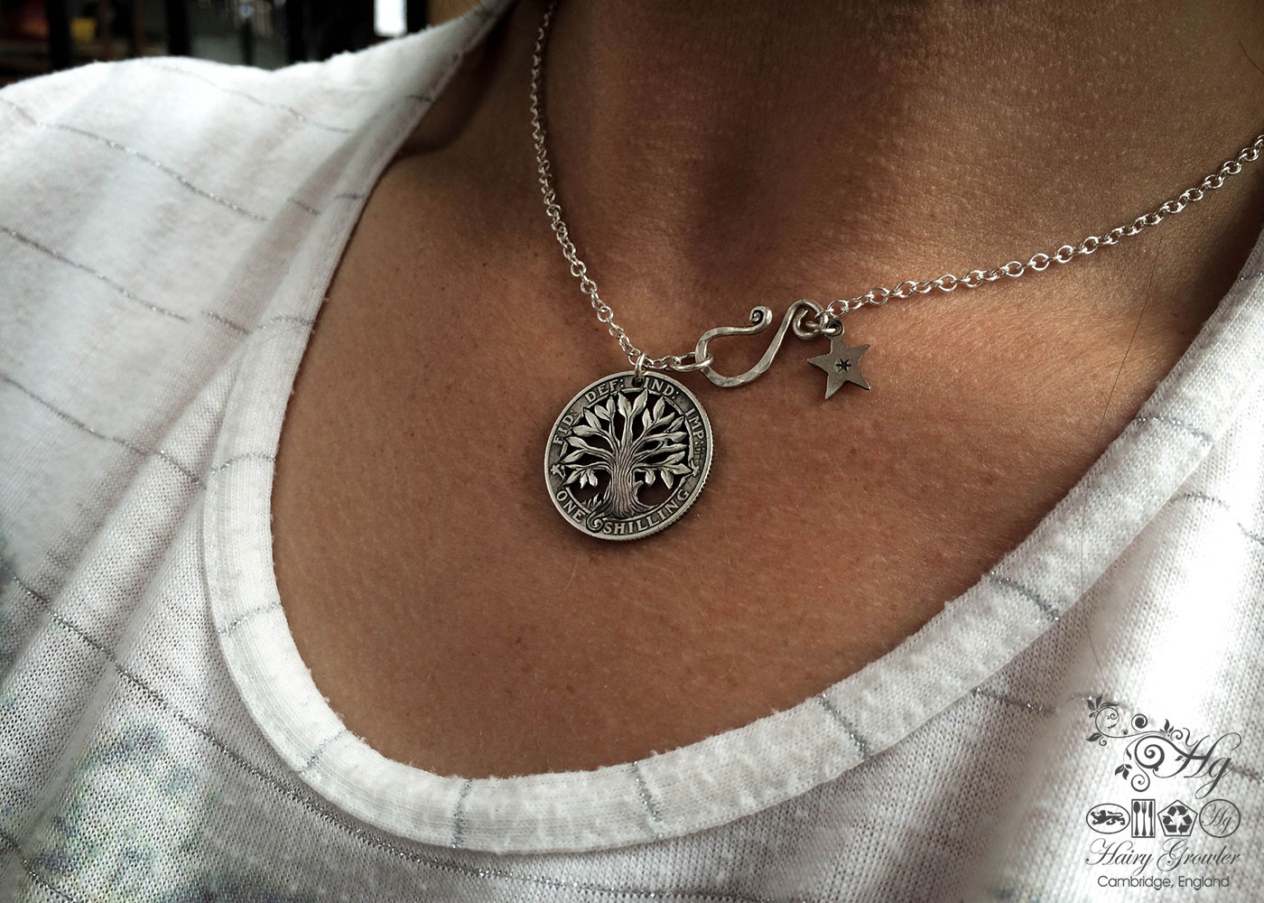 The Silver Shilling collection. silver tree-of-life necklace totally handcrafted and recycled from old sterling silver shilling coins. Designed and created by Hairy Growler Jewellery, Cambridge, UK