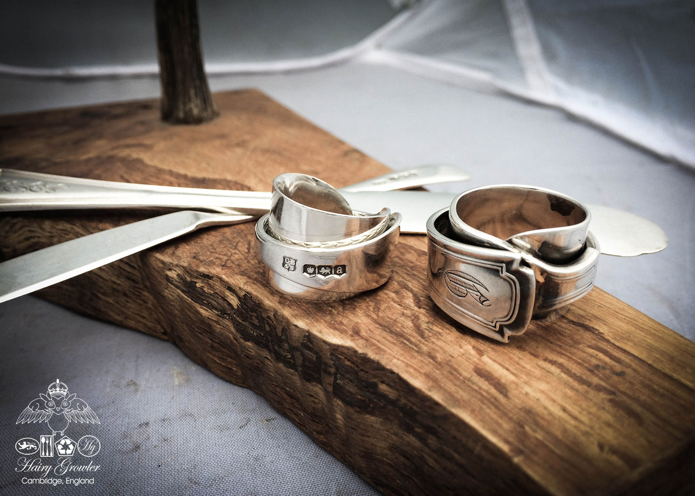 handcrafted and recycled solid silver butter-knife rings