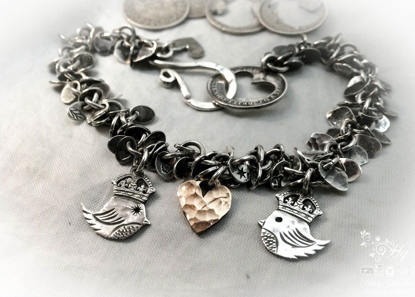 handcrafted teeny weeny Kingsy Queeny bird bracelet recycled silver threepence coins