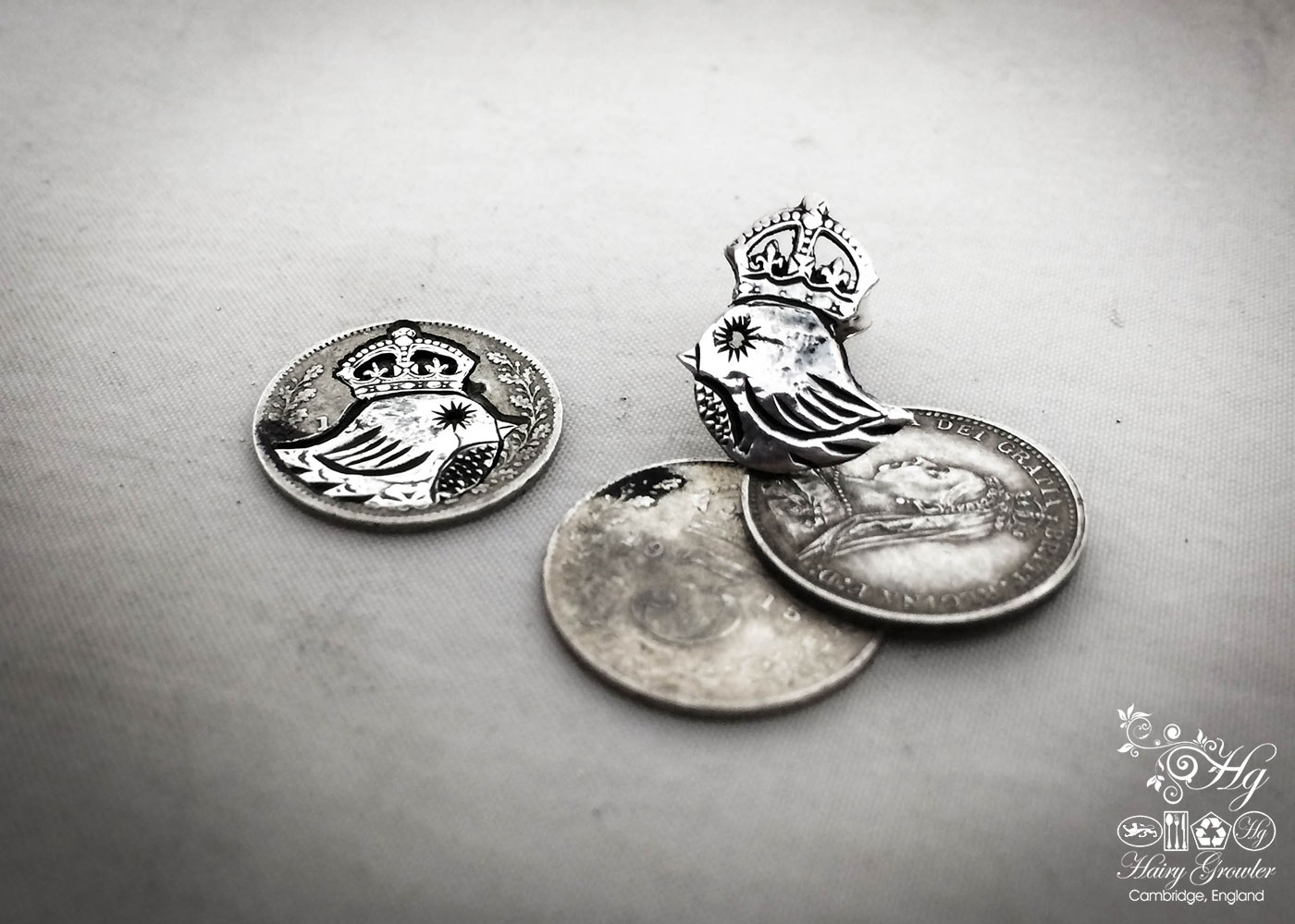 Teeny weeny Kingsy Queeny bird bracelet recycled silver threepence coins