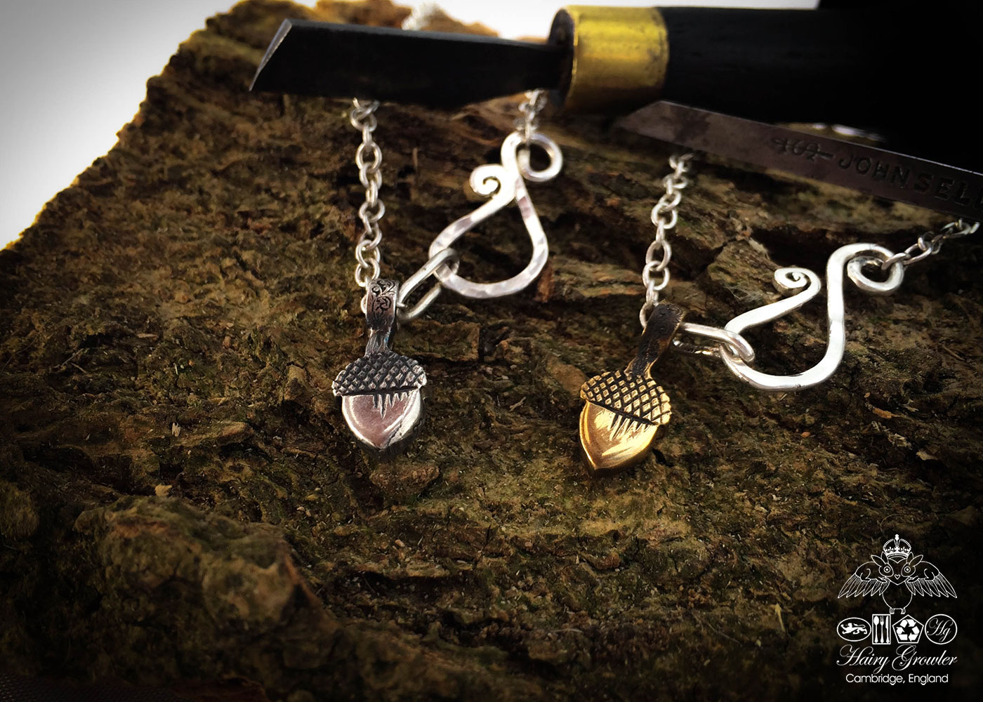 handmade silver and bronze acorn charms for a tree sculpture, necklace or bracelet