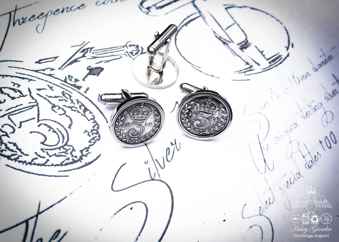 Handcrafted and recycled lucky threepence coin cufflinks