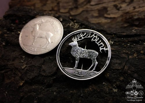 Handmade and upcycled Red Deer one Punt coin brooch