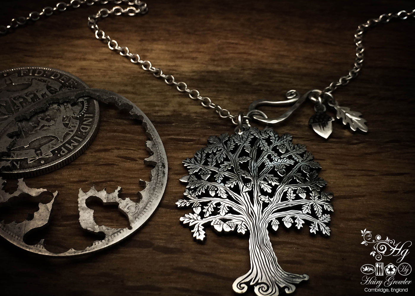 Handcrafted and recycled silver Oak Tree-of-Life necklace made from a British silver coin