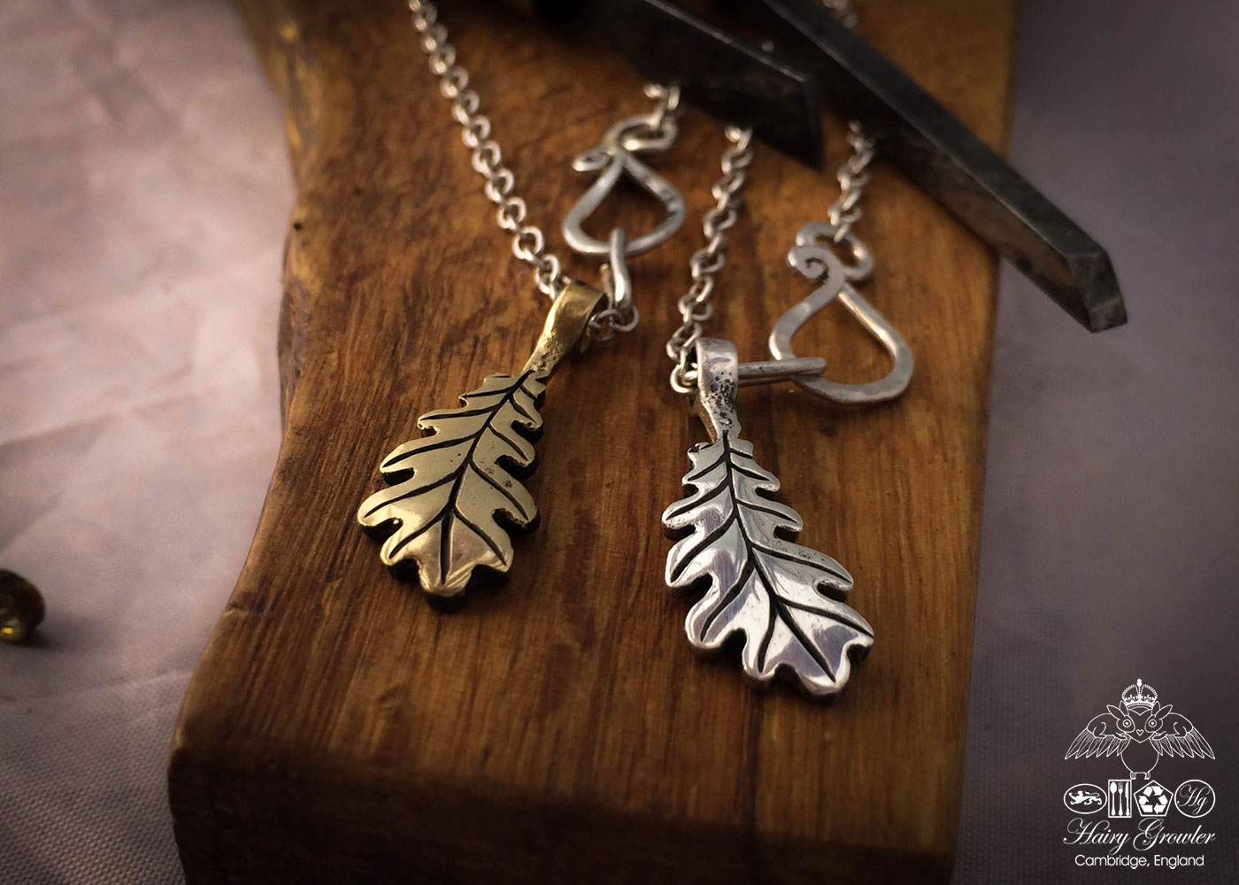 Oak leaf jewellery - handmade and recycled silver and bronze coins recycled ethically in an independent artisan studio workshop