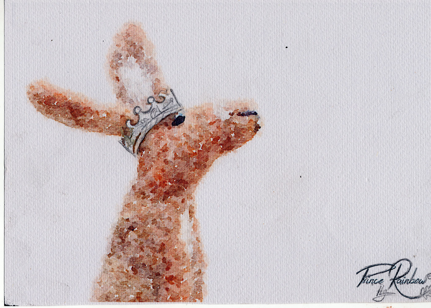 Hand felted brown hare with sterling silver crown recycled from a 100 year old silver coin
