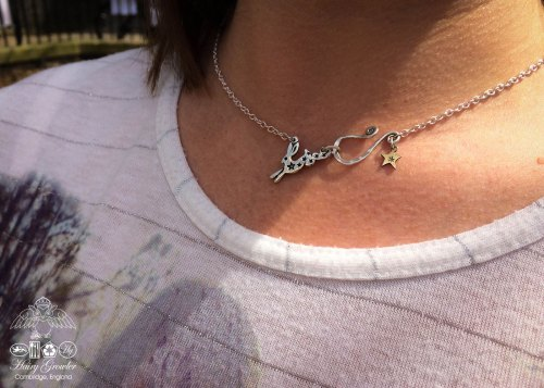 little leaping star hare necklace individually handmade and recycled from an old Victorian silver coins