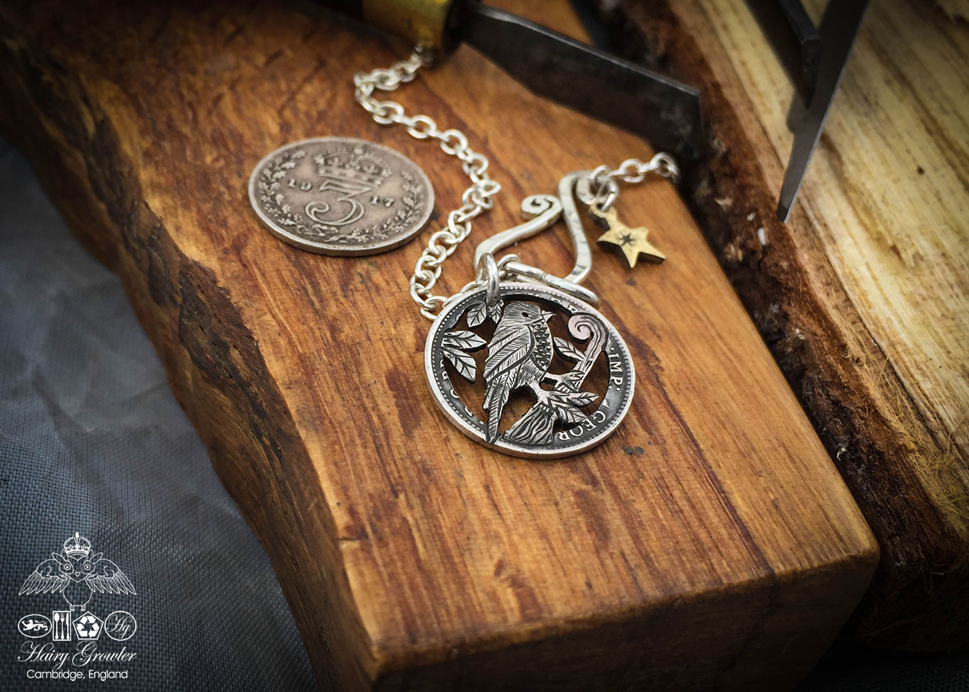 handmade, upcycled, contemporary and original silver coin song thrush necklace pendant