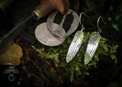 Rowan leaf earrings handmade and upcycled coin Rowan leaves leaf earrings
