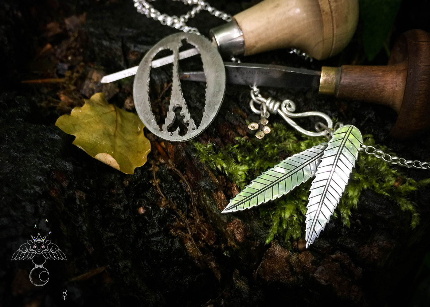 handmade and upcycled silver florin coin rowan leaf leaves necklace