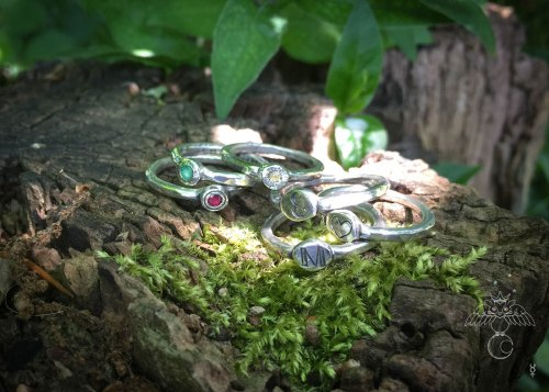 handcrafted and recycled silver symbols of love personalised initial stacking rings
