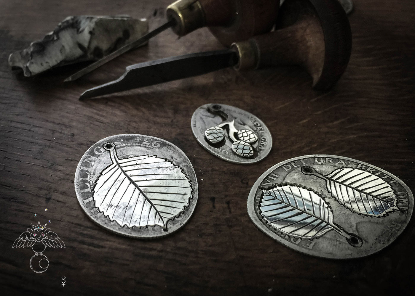 handmade and upcycled coin silver alder leaves leaf earrings