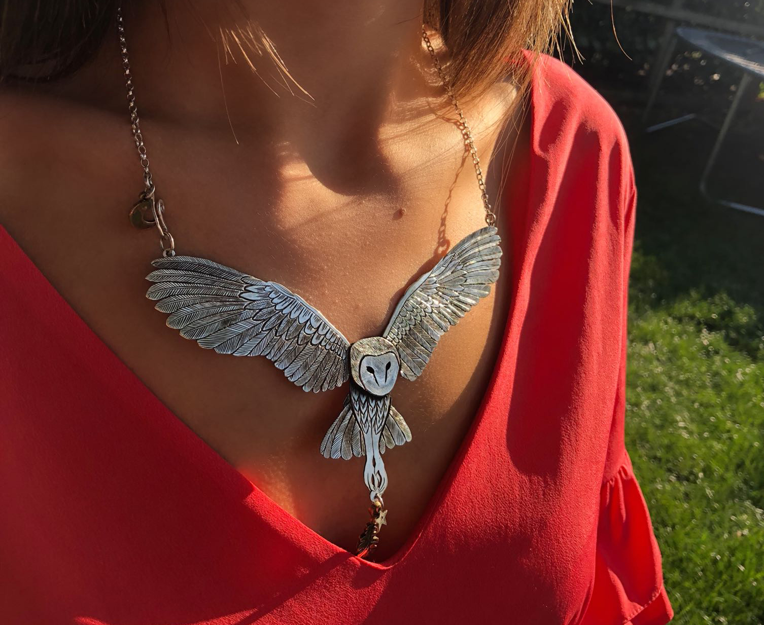 Owl necklace Handcrafted jewellery recycled from entirely unwanted and unused silver raw materials. 100 yr old silver coins and cutlery transformed.