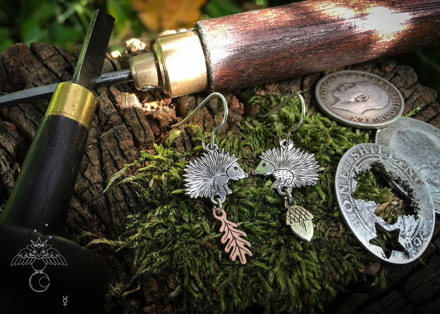 handcrafted hedgehog earrings recycled from silver coins by independent jeweller, jewellery designer
