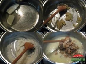 Prepararea sosului alb cu ciuperci