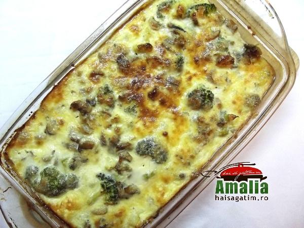 Broccoli cu ciuperci la cuptor