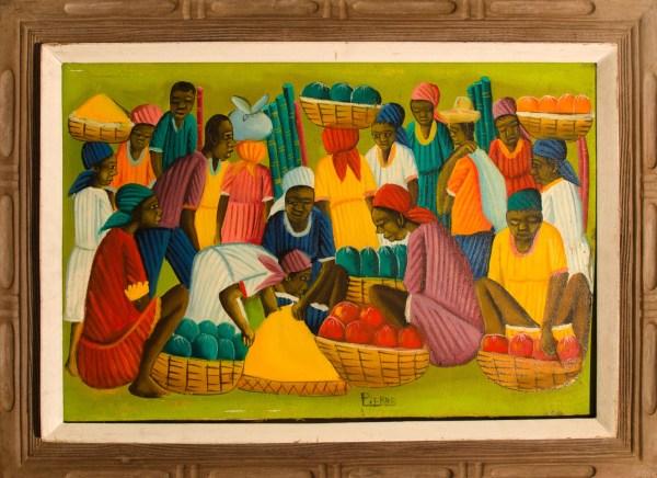 Haitian Paintings Crowd Market Await
