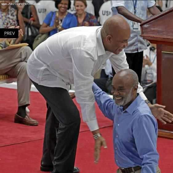 Rene Preval And Michel Martelly At Caracol Industrial Park Inauguration