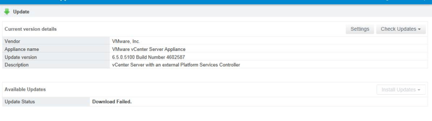 VCSA 6.5 Update Status Download Failed