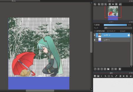 画像をレイヤーとしてとりこんだ絵を透明PNGで作ったレイヤーより下にもっていくと……