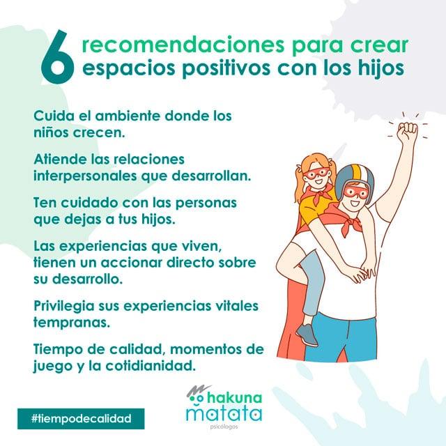 Recomendaciones para crear espacios positivos con los hijos