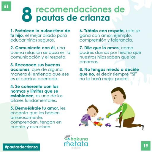 Recomendaciones de pautas de crianza para padres