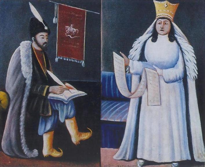 صورة زيتية للفنان بيروزماني تظهر روستافيلي والملكة تمارا