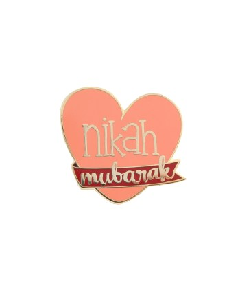 Nikah Mubarak Badge Pin Pink Celebration Marriage