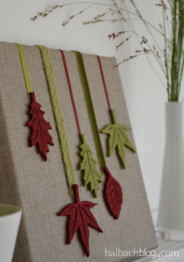 DIY-Idee halbachblog: Herbst-Bild auf Leinwand mit Bändern und Filz-Blättern