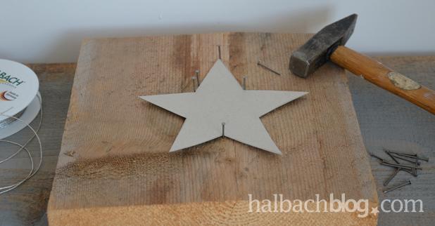 DIY-Idee halbachblog: Anleitung für Stern aus Silberkordel, Sternschablone auflegen