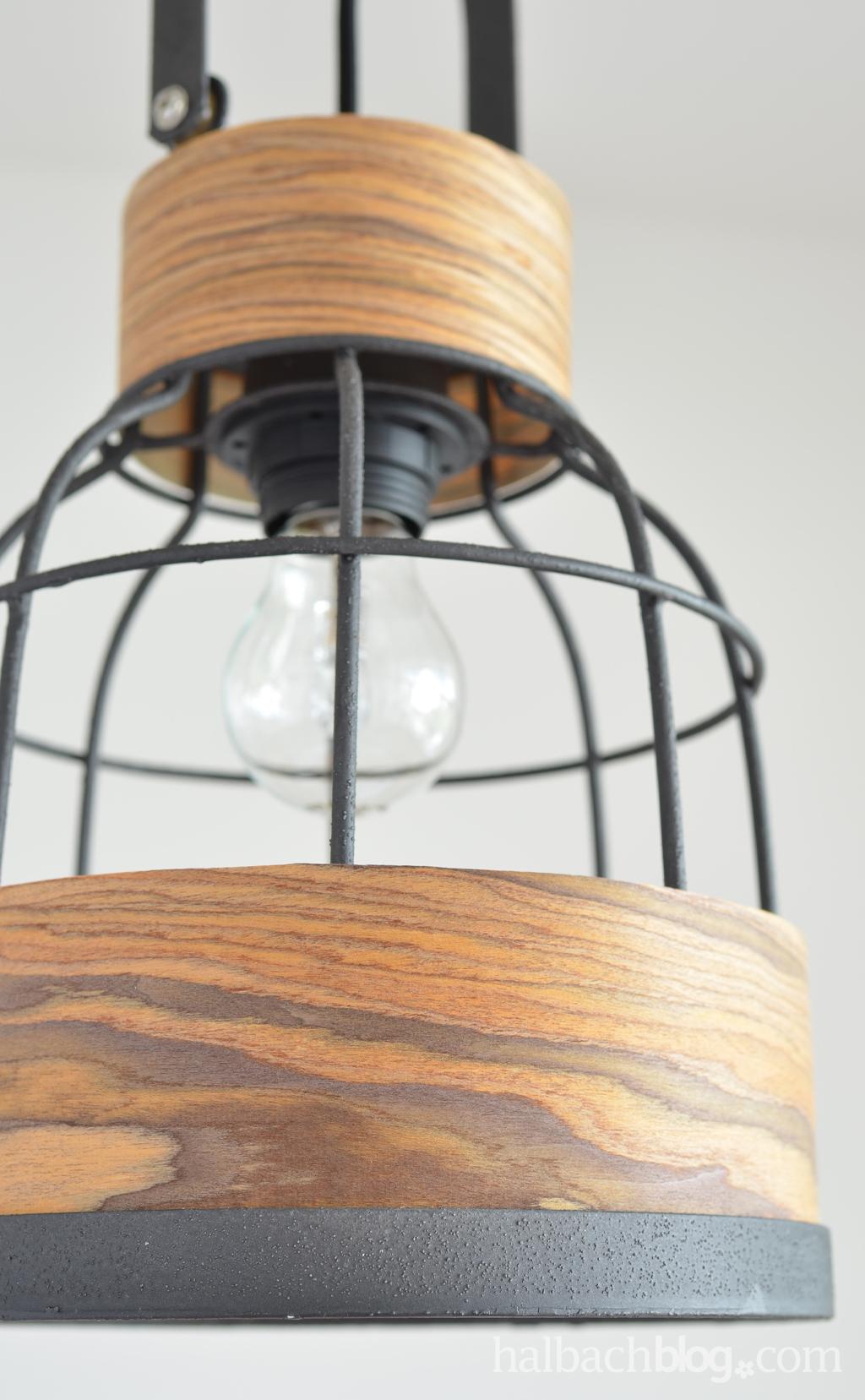 DIY-Idee halbachblog: Metall-Lampe gestalten mit strukturiertem Holzfurnier-Stoff in Braun