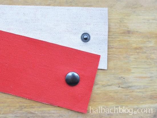 DIY-Idee halbachblog: Banderole für Kräuter mit Druckknopf aus rotem Tafelstoff