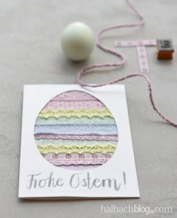 DIY-Anleitung Halbachblog: Karten basteln für Ostern - Ei aus Bändern und Spitze in kühlen Pastellfarben