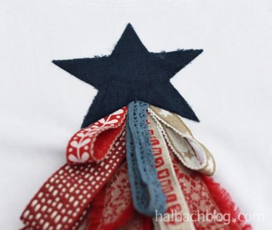 DIY-Anleitung Halbachblog: Baum aus Bändern und Samt als Applikation aufs Shirt nähen; Stern aus Samt