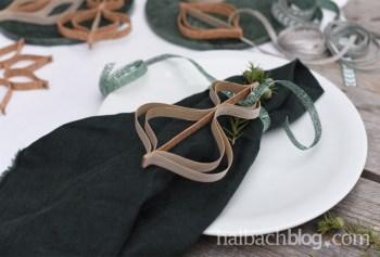 DIY-Idee Halbachblog: Weihnachtsschmuck-Ornamente nähen und kleben aus Holzfurnier- und Korkstoff