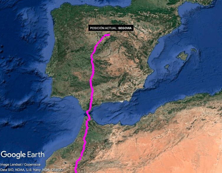 """Mapa del recorrido del alimoche """"Montejo"""" desde el sur de Mauritania hasta Segovia, su lugar de nacimiento y cría."""