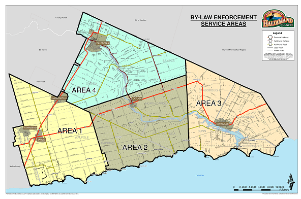 A by-law enforcement service area map stating which areas are covered under certain by-laws
