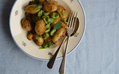 Crispy Pembrokeshire Earlies with Broad Beans, Mustard + Celery Salt
