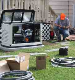 installation crew wiring a generac automatic standby generator to home [ 1024 x 972 Pixel ]