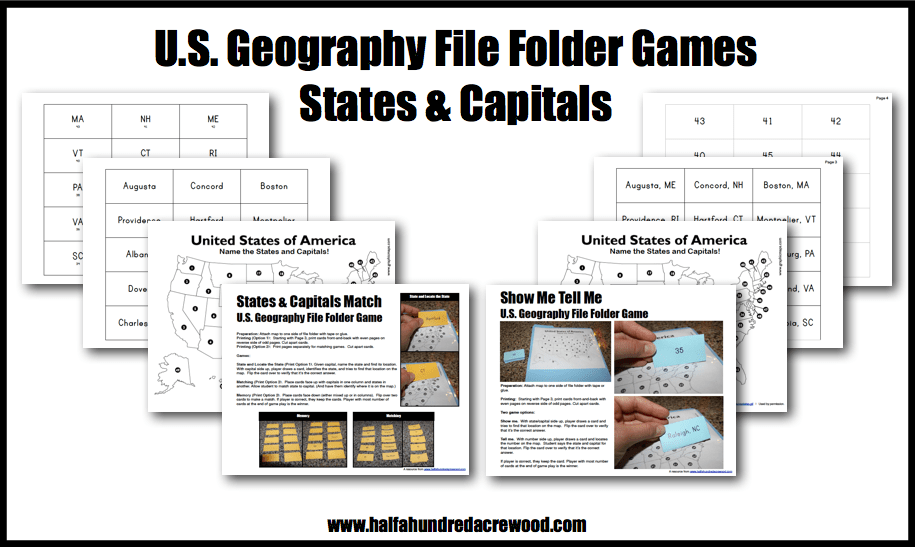 US Geography States Capitals File Folder Game Half A Hundred - Sheppard software us map