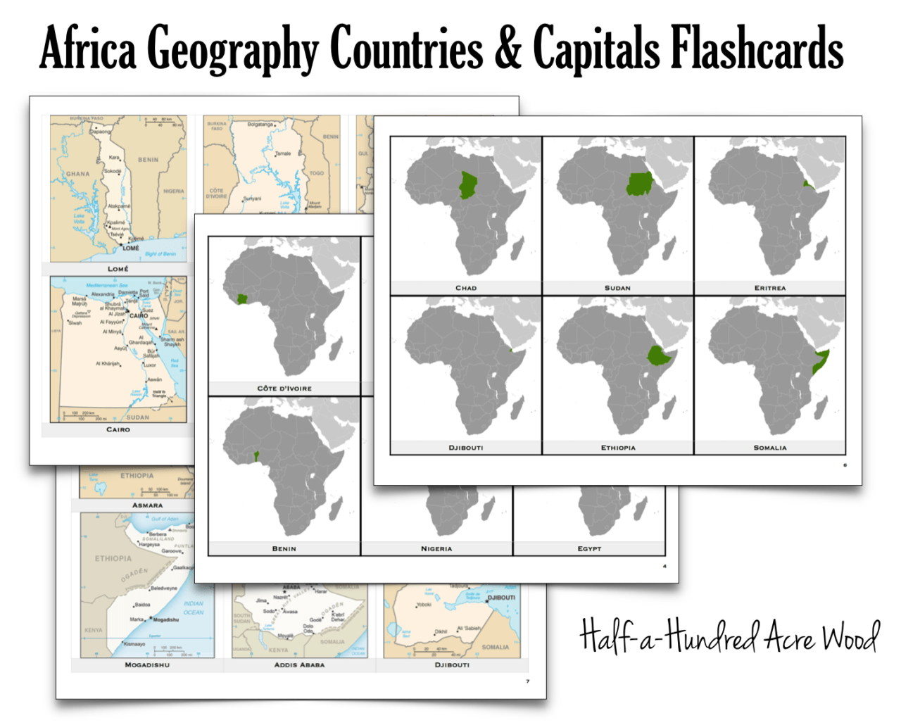 Africa Countries Capitals Flashcards Half A Hundred Acre