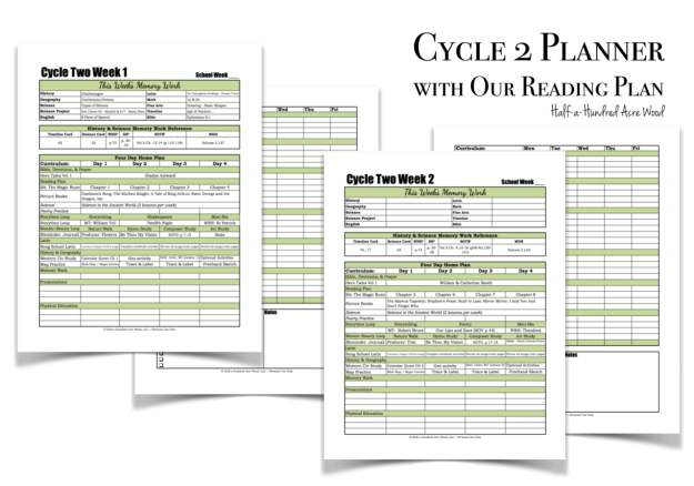 Cycle 2 Planner with Reading Plan