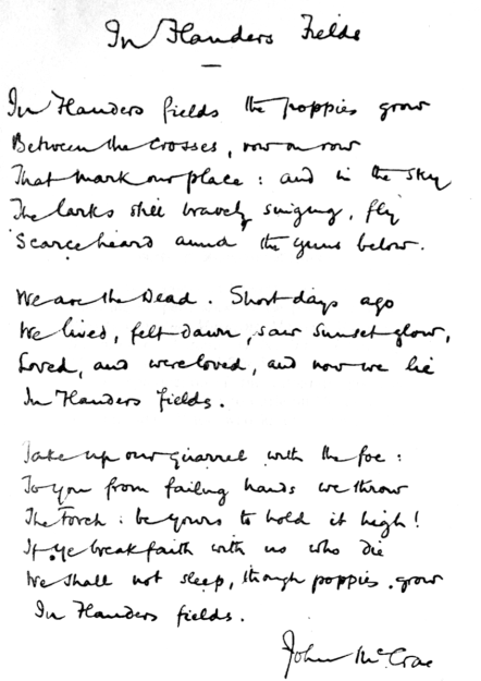 In Flanders Fields Handwritten