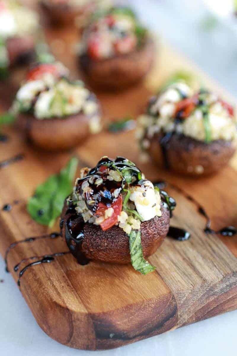 Caprese Quinoa Grilled Stuffed Mushrooms with Balsamic Glaze | https://www.halfbakedharvest.com/