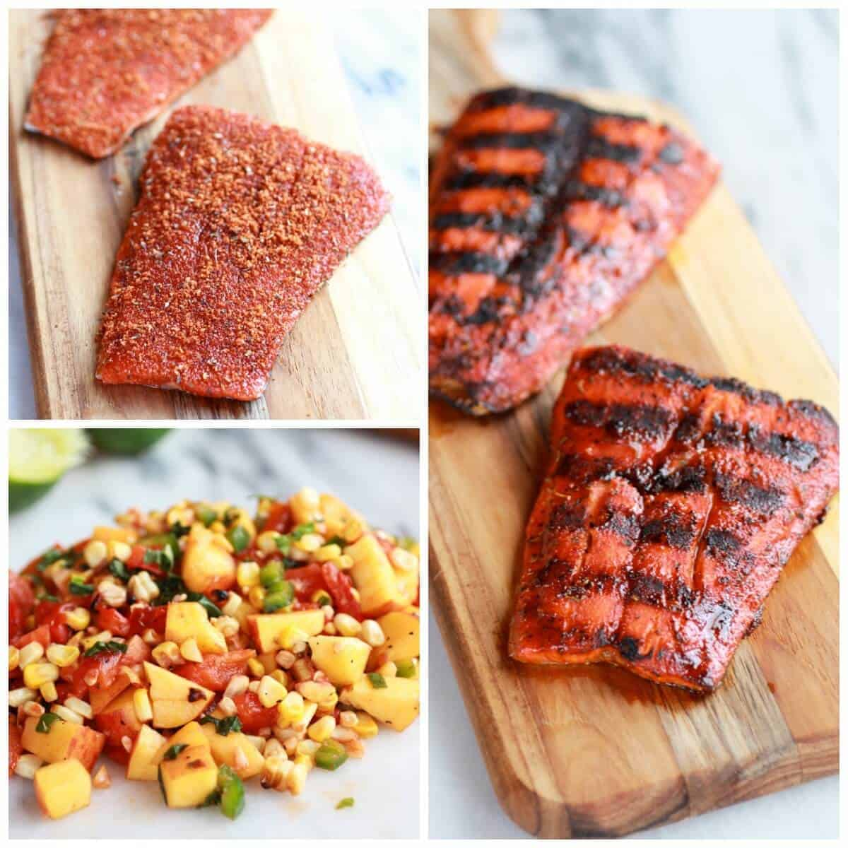 Blackened Salmon with Cheesy Polenta and Spicy Peach + Chard Corn Salsa | halfbakedharvest.com