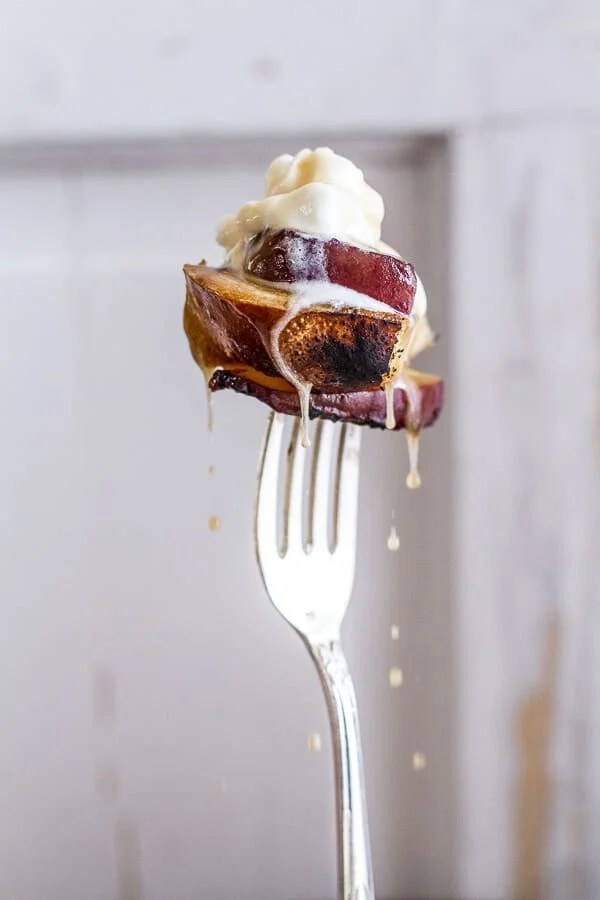 BROWN SUGAR Grilled Peach and Cream French Toast | halfbakedharvest.com
