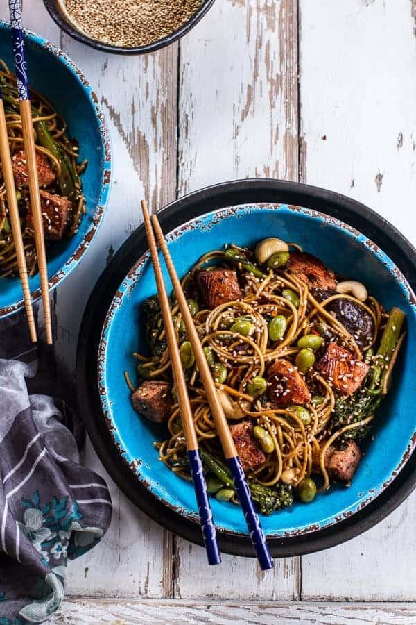 Sake and Ginger Soba Noodle Salmon Stir Fry | @hbharvest