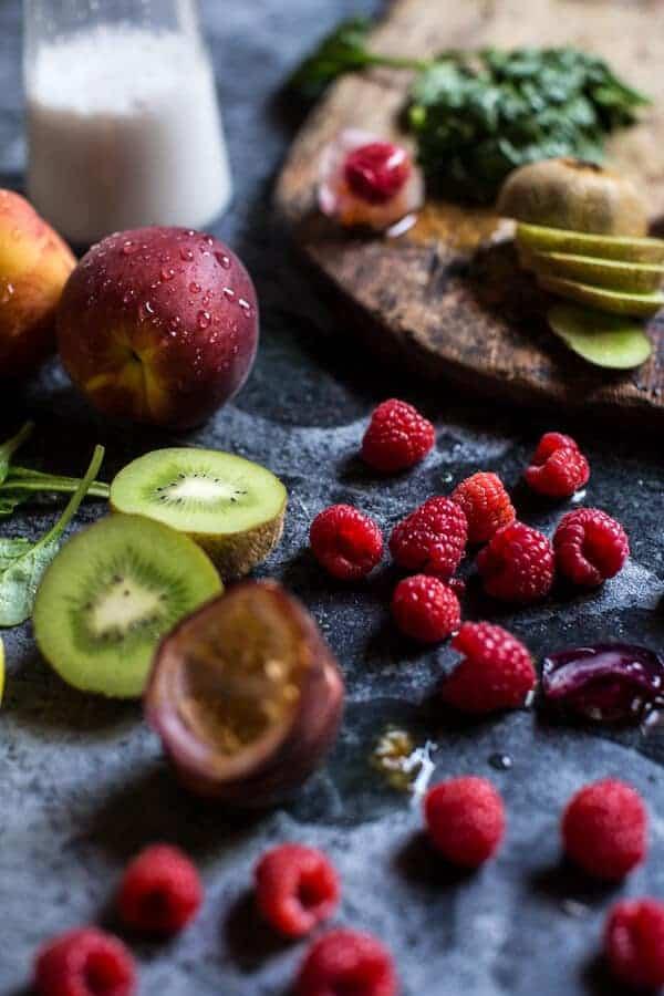 Raspberry Smash Super Green Summer Smoothie | halfbakedharvest.com @hbharvest